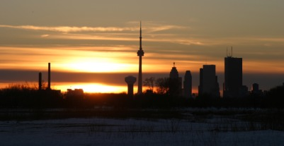 Downtown from the beaches during sunset