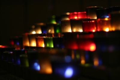 Coloured candle holders.