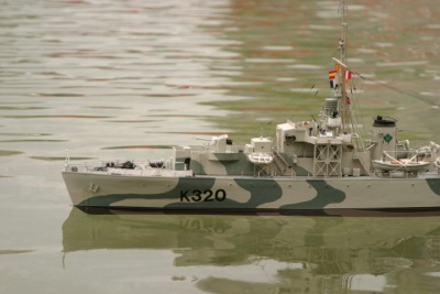 Model of a warship.